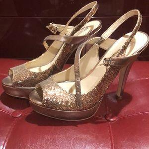 INC bronze heels